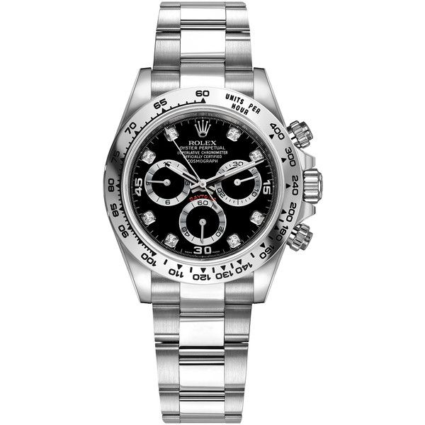 Rolex Cosmograph Daytona White Gold 116509 Black Diamond Oyster Watch ($32,308) ❤ liked on Polyvore featuring men's fashion, men's jewelry, men's watches, mens black diamond watches, engraved mens watches, rolex mens watches, mens waterproof watches and mens white gold watches