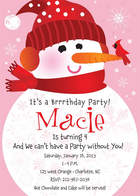 Snowman Birthday Party Invitation for Kids by TBoneSquid on Etsy, $15.00