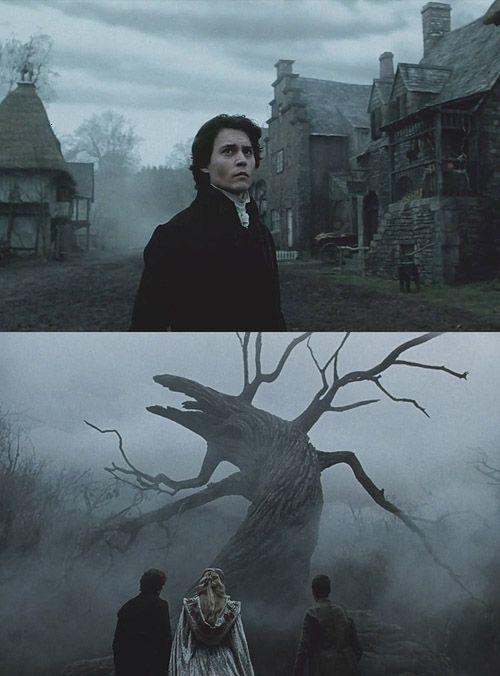 Sleepy Hollow. Iluminación exterior motivada. Es una película donde hay mucha niebla, los colores son saturados y tiene una dominante fría. Esta iluminación es muy característica de Tim Burton. Tiene ese estilo gótico que encarga a todos sus directores de fotografía.