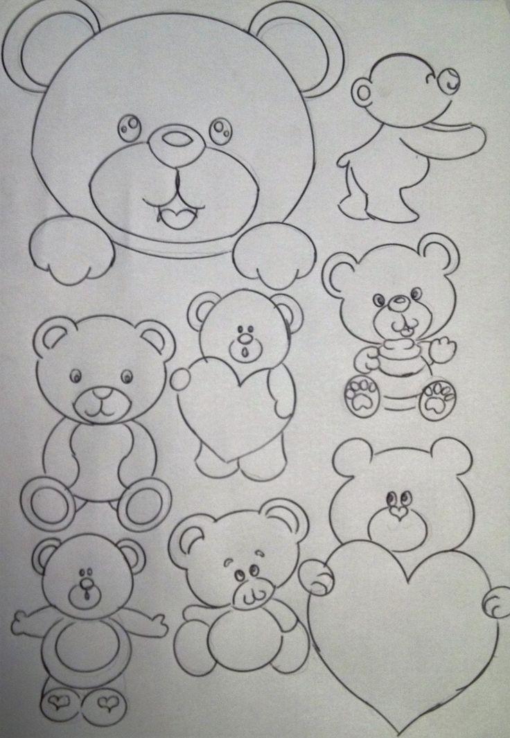 Aqui vai alguns riscos de Desenhos para artesanato e trabalhos manuais com desenhos de bichinhos e ursinhos.