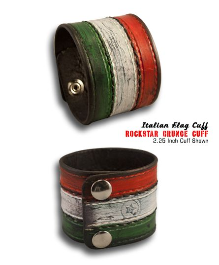Handmade Italian Flag Colors Leather Cuff Wristband, Red, White and Green - Hand Stitched with Black