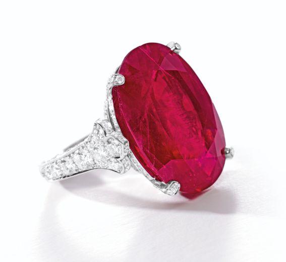 29.62-carat Burmese ruby and diamond ring by Cartier • Sotheby's Hong Kong