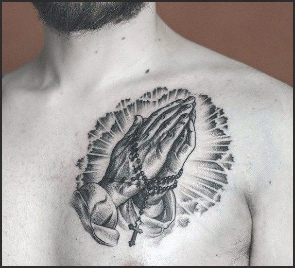 50 Small Chest Tattoos For Guys Masculine Ink Design Ideas Chest Tattoo Men Small Chest Tattoos Praying Hands With Rosary