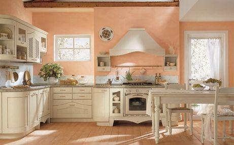 стены персикового цвета в кухне