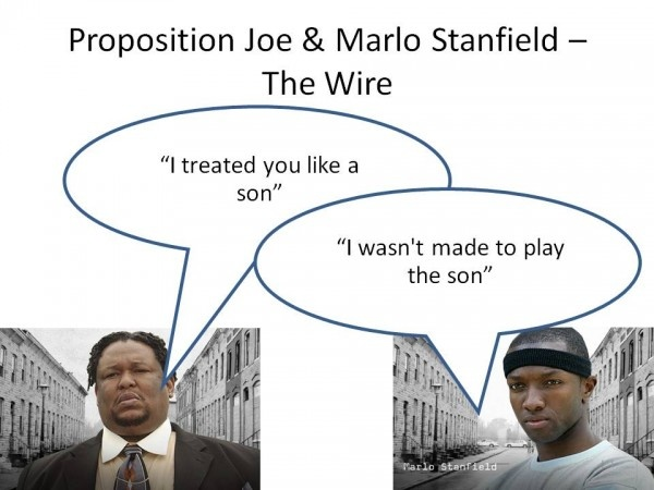 This is one of my favourite lines delivered in The Wire. Without spoiling it to anyone who has not watched it, this was the chilling conversation between Proposition  Joe and Marlo Stanfield. A lot of business is based around playing your position and loyalty. The problem is that how you view your position and how someone else views your position, can differ and cause conflict.