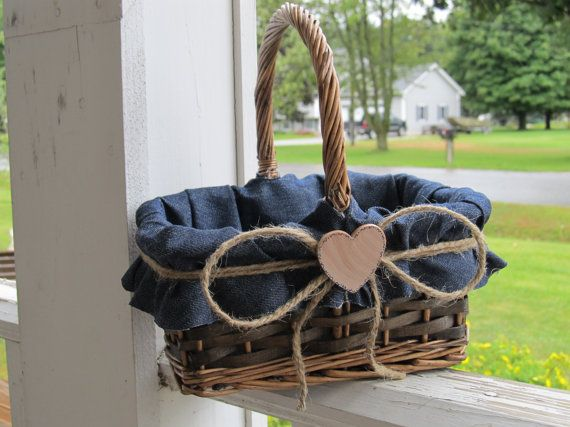 Denim Personalized Flower Girl Basket For Your By Occasionsbysarah, $25.00