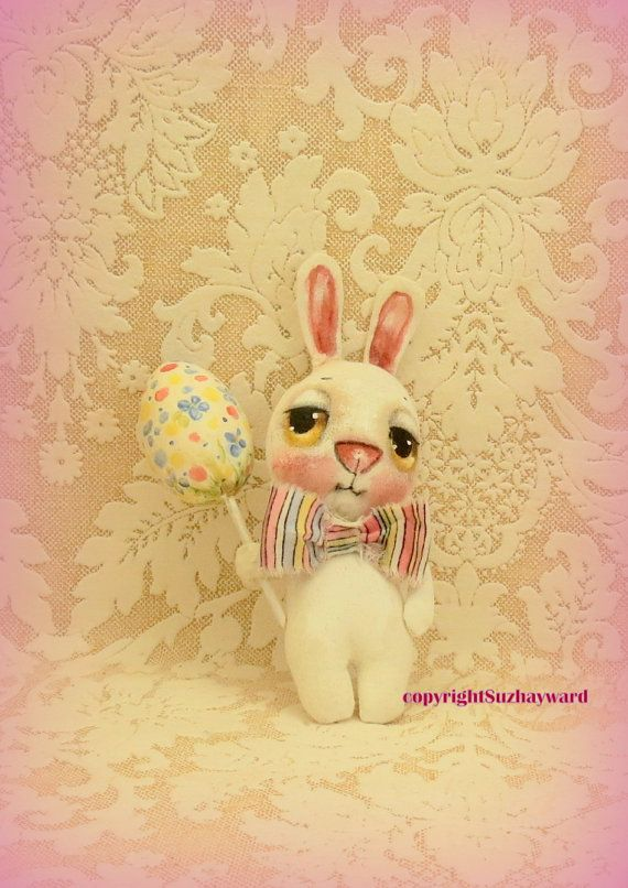 Easter bunny cloth doll with egg by suziehayward on Etsy, $62.00 SOLD