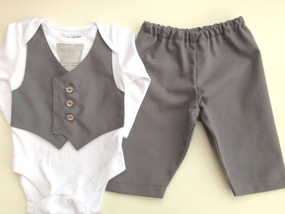 Baby suit, little boys wedding outfit, baby boy clothes, christening outfit, baby tie, boys grey vest and tie, page boy
