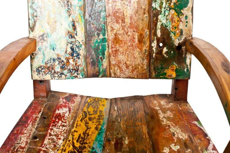 Cahaya Boat Wood Furniture- Layers of history and paint tell a story of beauty that is now shared through these furniture pieces.