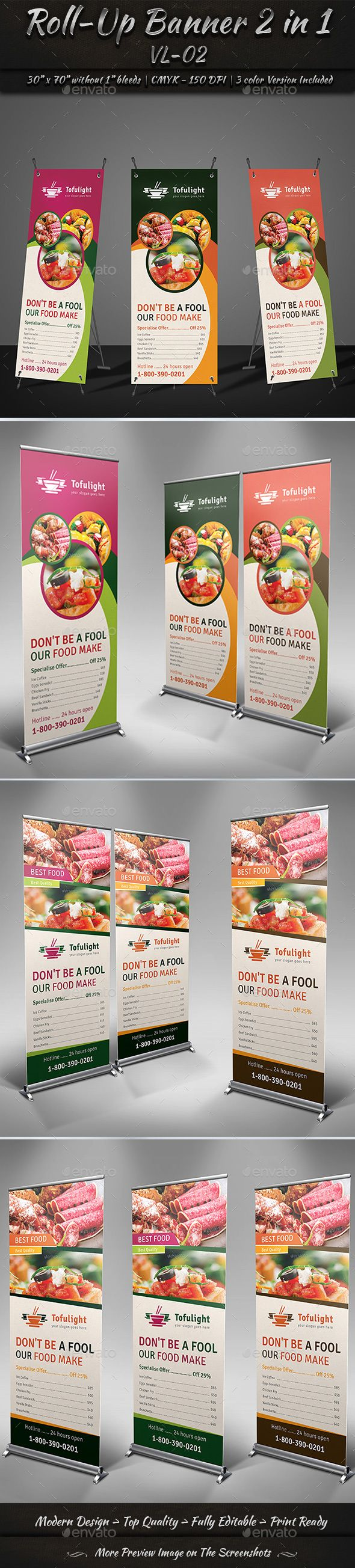 Roll-Up Banner 2 in 1 VL_02 by GraphicShaper Roll-Up Banner 2 in 1 is a designed...