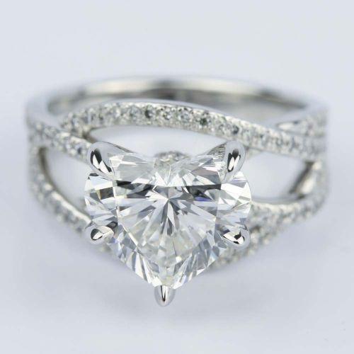 Cross Split Shank Heart Diamond Engagement Ring (3 Carat) | Image 01