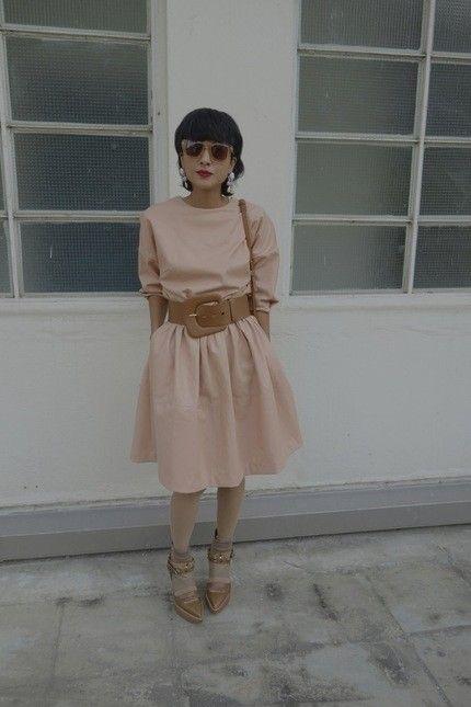 Grey Ant sunglasses @Özgür Atmaca Oh My God faux leather dress @Özgür Atmaca MMM belt Kenzo bag Toga shoes
