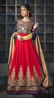 Red and Royal Blue Georgette Velvet Long Anarkali Suit