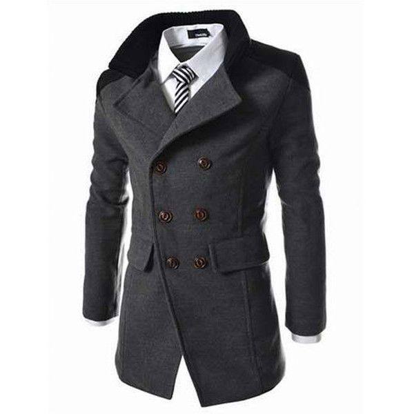 s Solid Double Breasted Mid-Long Thicken Trench Coat ($33) ❤ liked on Polyvore featuring men's fashion, men's clothing, men's outerwear, men's coats, darkgray, mens double breasted long coat, mens long trench coat, mens fur collar coat, mens long coat and mens double breasted trench coat