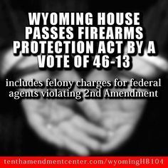 Another Pinner said: Way to go Wyoming! Now it is time to find out who the 13 idiots, that voted against it, are and vote them out of office! Long live Wyoming and the 2nd Amendment!