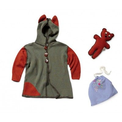 """Autumn body warmer """"Fox"""". A small garment with a hood, decorated with little ears on its top and a little-fox appliqué. It is  made of up-cycled materials and with hand-made ceramic buttons. Your kid can use it as a fox disguise."""