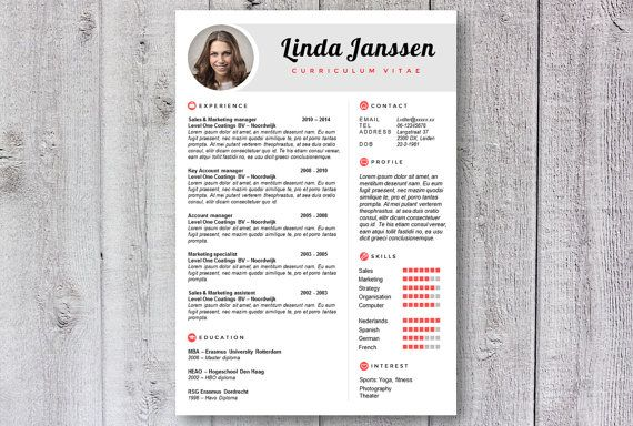 Creative resume / cv template. Design by DeLeydsche. Easy to use in Word instant download on Etsy.