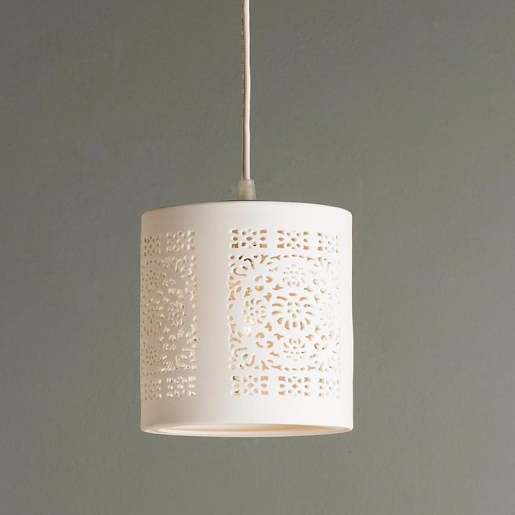 Ceramic Lace Pendant. shadesoflight.com $79. BHG 2/2014. 8ft cord for plug in. 25watts. 6in ht x 5in w.