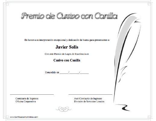 Premio de Cursivo con Canilla para imprimir los certificados, gratis para descargar e imprimir