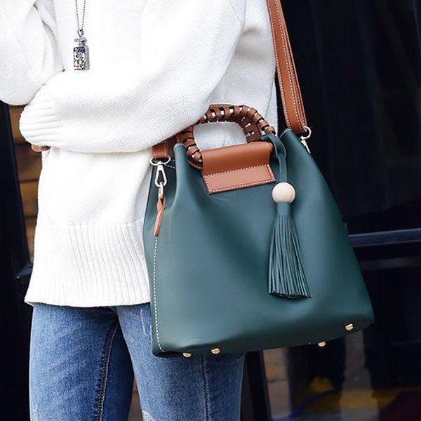 Women PU Tassel Bucket Bags Casual Shoulder Bags Large Capacity Crossbody Bags S - US$31.99