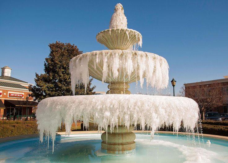 CHARLOTTE, NORTH CAROLINA A frozen fountain in Charlotte, North Carolina, on Jan. 8, 2015.