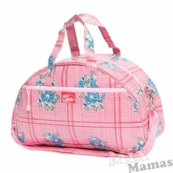 Een mooie roze, geruite logeertas van Mix Mamas. Gedecoreerd met blauwe bloemen. #tas #logeertas #MixMamas #Decodomus