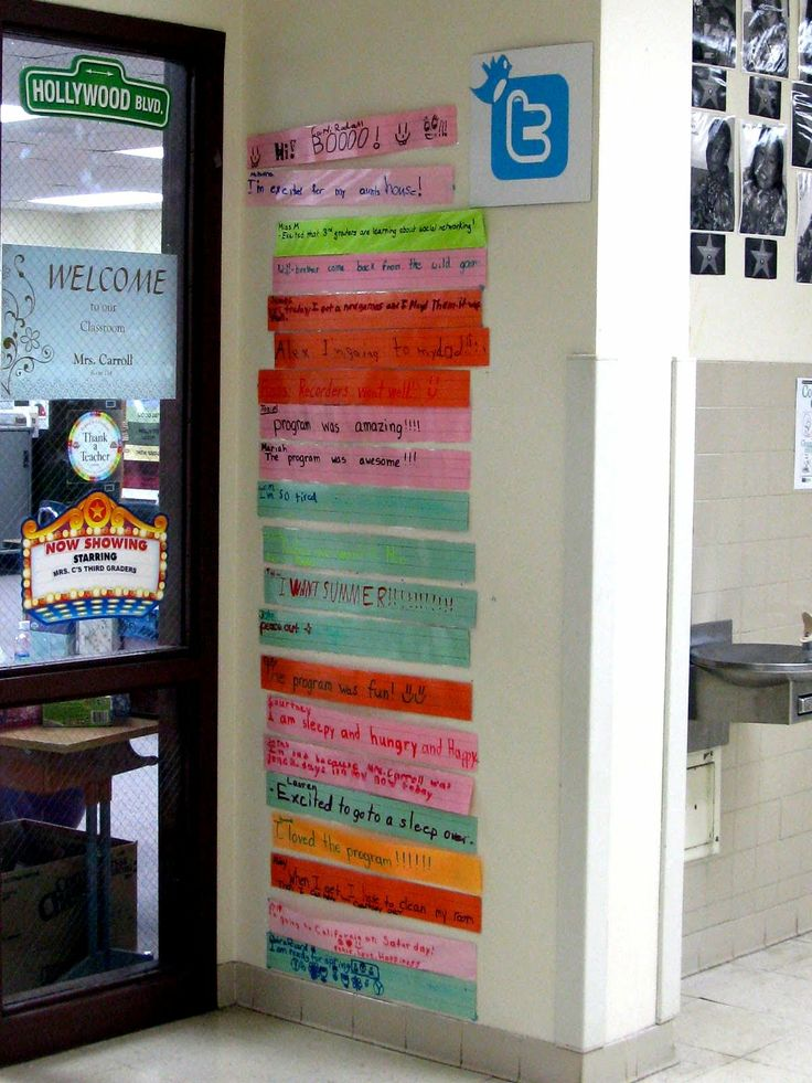 "Students' tweets...create a Twitter board on your classroom wall. Encourage students to ""post"" their status/thoughts on laminated (therefore reusable) sentence strips. Have students write the times that they write their tweets underneath their text to add time-telling practice...I can't find this on the blog, but with the picture and explanation, you don't need it!"