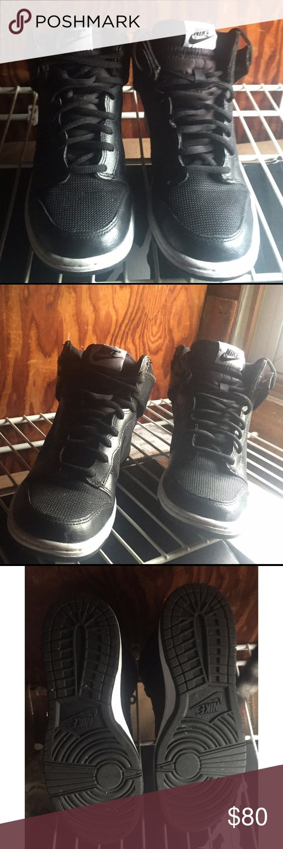 ⚡️Reduced Price⚡️High top Nikes High top Nike sneakers. Size 7.5 women's. Used once for an hour, refer to second pic for bottom of sneakers. No drag marks. They have been cleaned. Pictures 1,3&4 are new pics. Runs small, Not intended for people who have wide feet. Pair with sweat pants, cargo pants or joggers and comfortable sweater with a leather or bomber jacket to have a street wear hip hop type of look. Next day shipping. Submit offers through offer button. Reduced already, No…