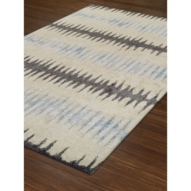 Addison Rugs Blair Ivory/Blue/Grey Tribal Striped Area Rug (4'11 x 7') (Blair 39 Blue 4'11X7'), Size 5' x 7'