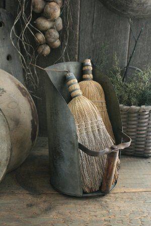Primitive Early Homestead Look Metal Farm Scoop w Vintage Whisk Brooms