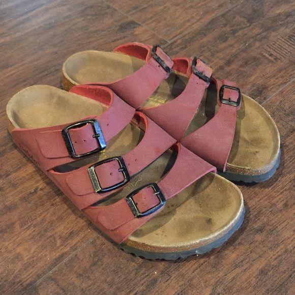 Birkenstock Betula Sandals Birkenstock Betula 3 strap red sandals size L7 Birkenstock Shoes Sandals