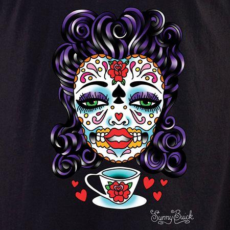 Sunny Buick Tea Lady Sugar Skull T-Shirt   T-Shirts