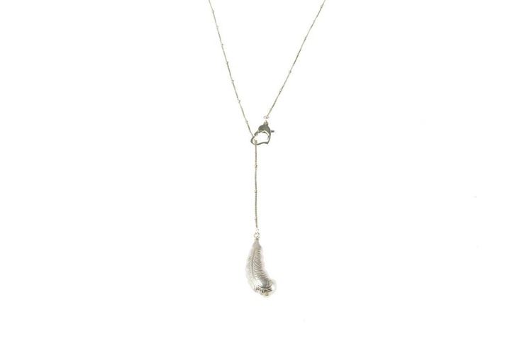 Sam Ubhi Premiere Collection - Wish Bone Style Clasp Sterling Silver Feather Pendant