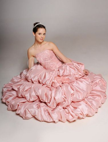 Свадебное платье бальное без бретелек со шлейфом из тафты с бусинами -No.5