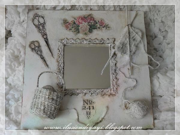 De Todo Un Poco: TUTORIAL: MALMAS PARA CUARTO DE COSTURA Altered Mirror Frame Tutorial