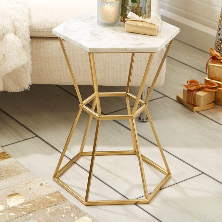 Carita Hexagonal Marble Top End Table