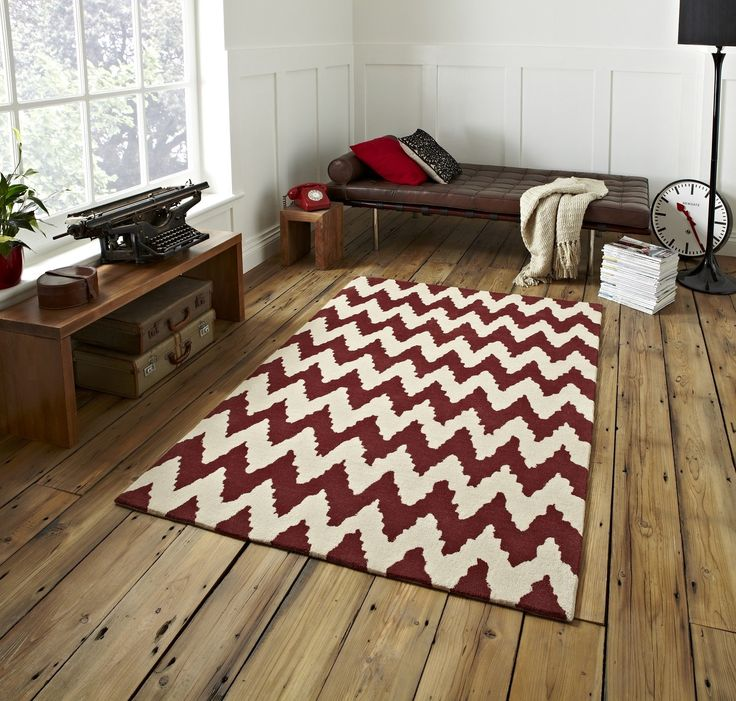 Hong Kong Hand Tufted 100 Acrylic Large Floor Rug Zig Zag Design 150 X 230cm Red RugsLiving Room