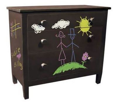 Turn any surface into a canvas for your kid with chalkboard paint! Admittedly a little messy,but what fun thing isn't? ; )