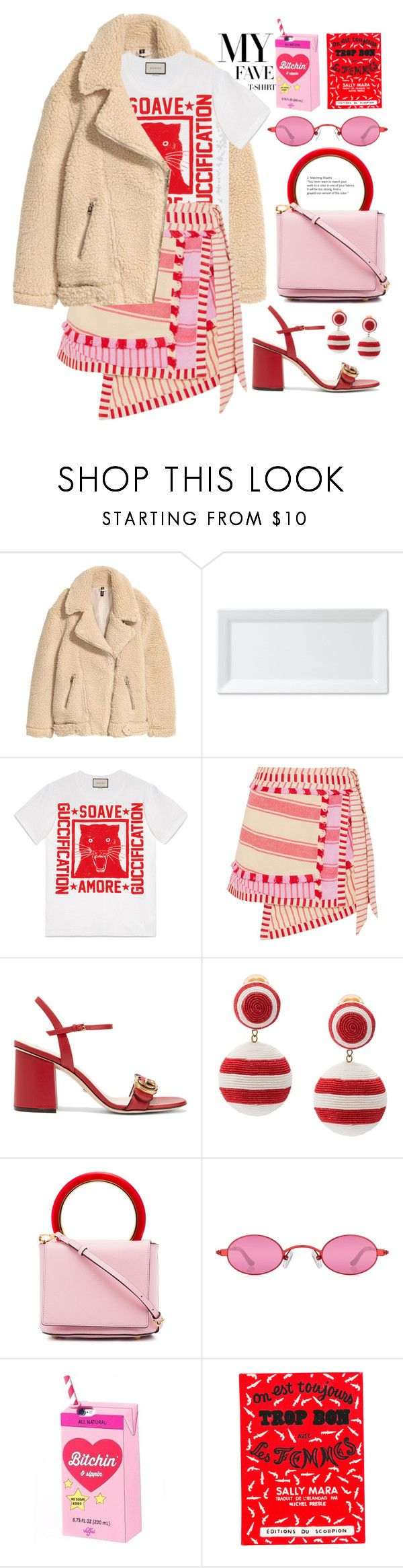 """Gucci t-shirt "" by fcris7176 on Polyvore featuring H&M, Q Squared, Gucci, Dodo Bar Or, Rebecca de Ravenel, Marni, Olympia Le-Tan and MyFaveTshirt"