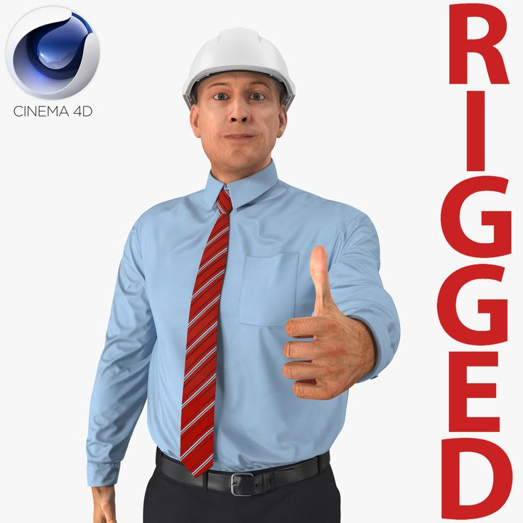 3D Construction Engineer in Hardhat Rigged for Cinema 4D model