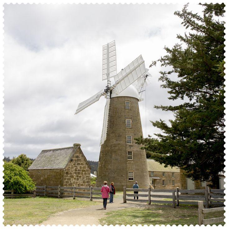 Tilting at windmills in Oatlands, 7120. #AustraliaConnected, #Australia, #Tasmania, #Oatlands, #Windmill, #CallingtonMill, #1837, #postcode7120.