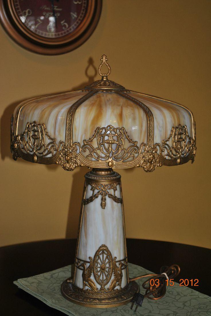 Cottage lighthouse lamp 3 colors - Art Nouveau Bradley Empire Handel Era Slag Glass Lighthouse Lamp Shade
