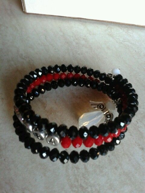 Personalised Bracelet with angel black white and red
