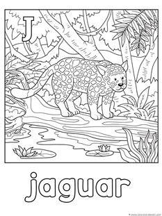 FREE J for Jaguar Coloring Page | 1plus1plus1equals1