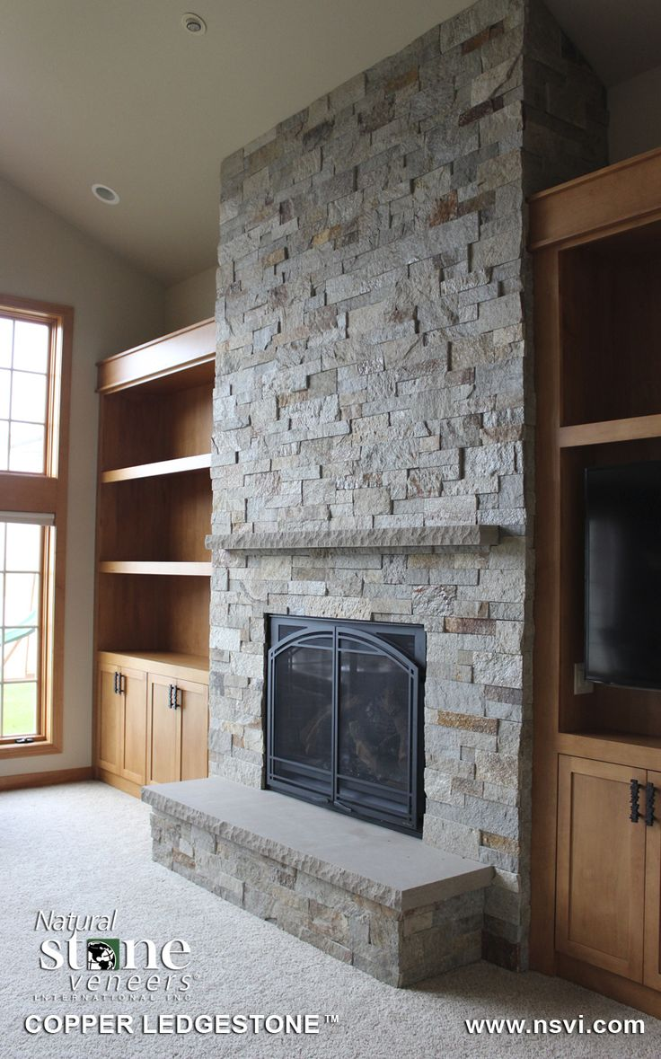 Interior, Stunning River Rock Application Design Ideas For Corner Stone Fireplace With Grey Shades Golden Honey Wall Book Shelves: Amazing Makeover Stone Fireplace Design Ideas For Delightful Living Room Blueprint