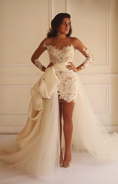 african wedding dress. sexy illusion long sleeves white lace wedding dress with detachable train sold by modsele. shop african