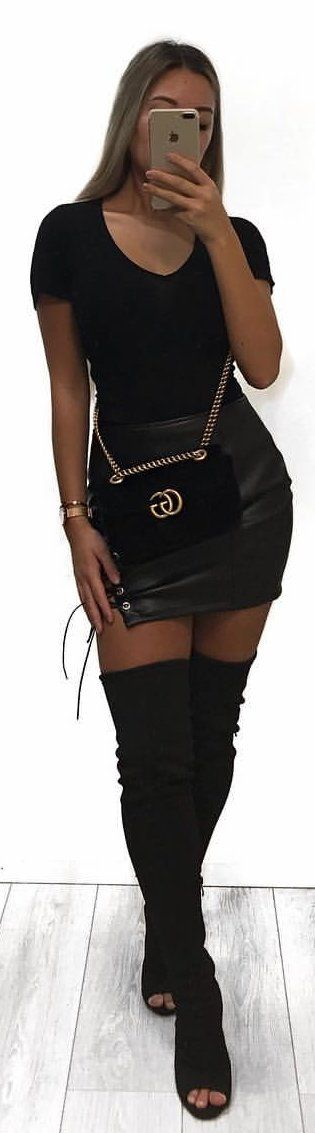 #winter #outfits black scoop-neck dress