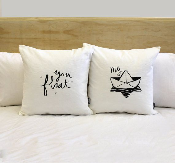 These two his & hers pillow covers say you float and my boat. Could also be lovely in a nursery! So many options & such a cute nautical saying! It