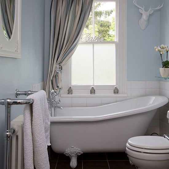 Pale blue bathroom with slipper bath bathroom decorating for Really small bathroom designs
