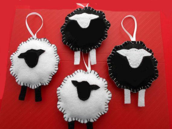 Sheep Ornaments Set of 4 SHEEP Lamb Christmas Black by ByBunni